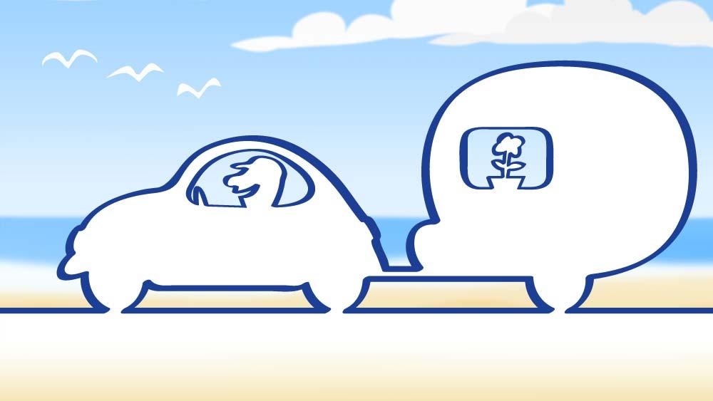 logo af animation af person der kører en bil med en campingvogn